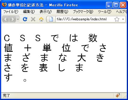 font-sizeプロパティにem単位で値 ...